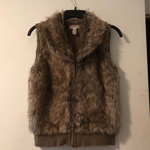 Faux fur vest.