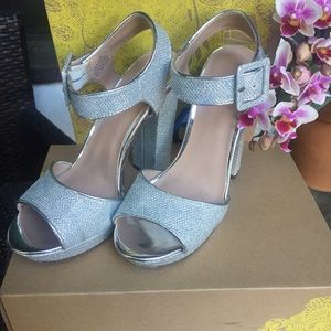 Shoes - Sexy Silver ankle strap heels mod 1960s style
