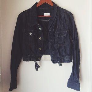 Vintage cropped dark jean jacket