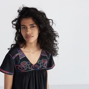 Madewell Silk Colorstitch Embroidered Dress