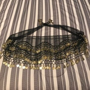 Accessories - Belly dance jingle belt scarf sheer black & gold
