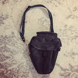 Black faux leather insulated camera bag/fanny pack