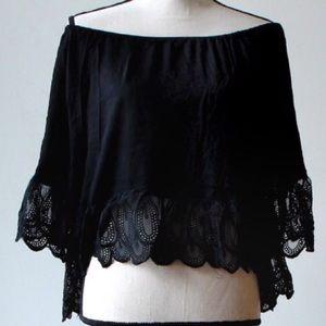 Tops - Black crochet hem off shoulder blouse, NWT
