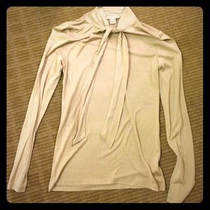 Magaschoni silk blend top tie size small tan