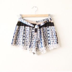 Pants - Printed Shorts with Lace Detail