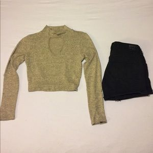 Acemi Tops - Crop long sleeve with open front
