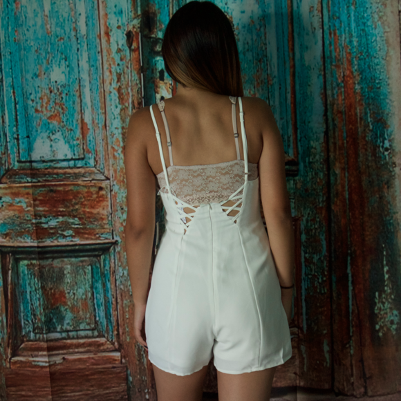 Shorts - Cute White Romper With Criss Cross Back