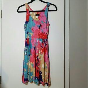 Aqua Dresses & Skirts - Aqua Paint Pattern Floral Tank Dress