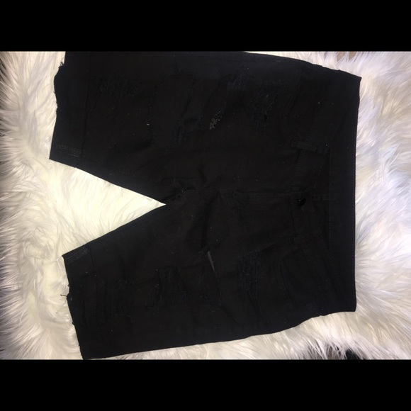 Shorts - Distressed Black Bermuda Shorts