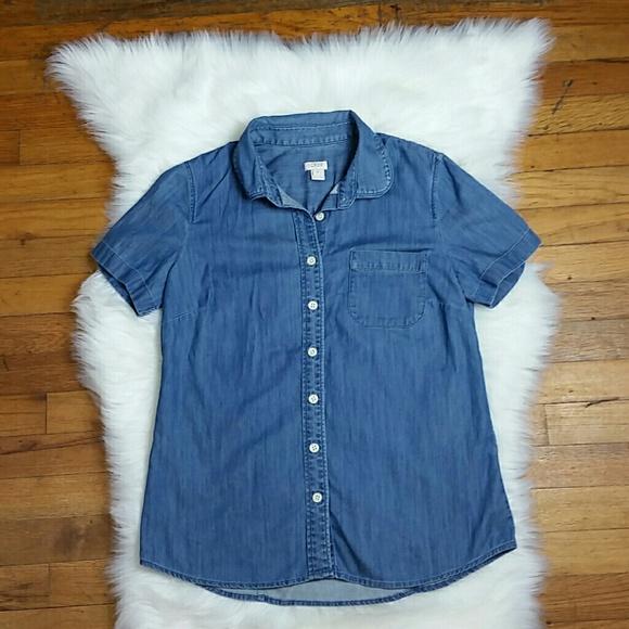 ca13a4fb61f J. Crew Factory Short Sleeved Chambray Shirt. M 5936240213302aee4901cf6c