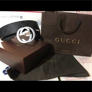 Gucci Other - 💕 Authentic Men Gucci Belt Black/Grey Canvas