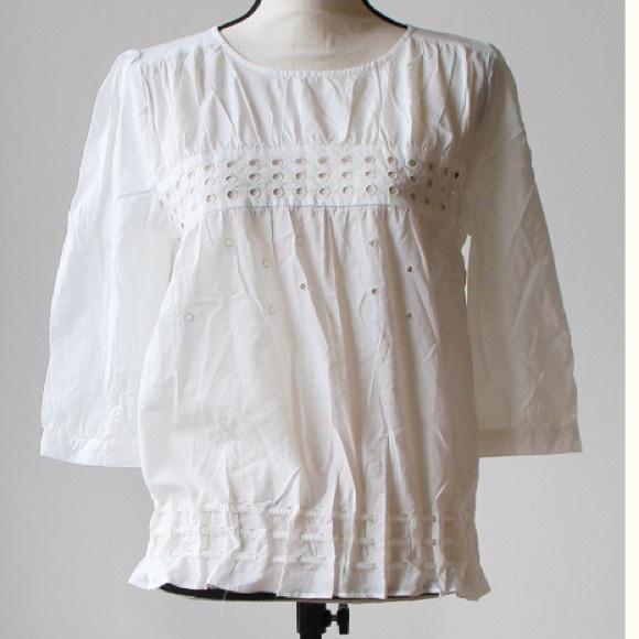 Ivory circle design blouse, NWT