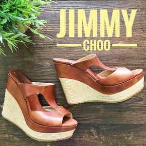 Jimmy Choo Pledge T Strap Wedge Slide Espadrille