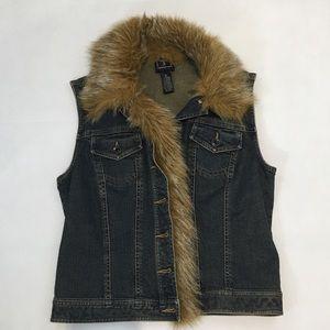 Vintage INC Denim Jean Vest Faux Fur Size Med