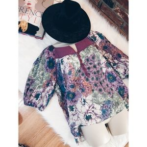 UO Kimchi & Blue Quilted Floral Boho Blouse SM