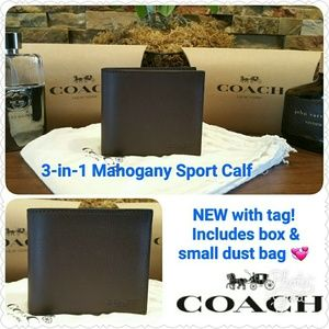 Coach Other - *SALE* NEW Coach Wallet w/ID passcase (Mahogany)