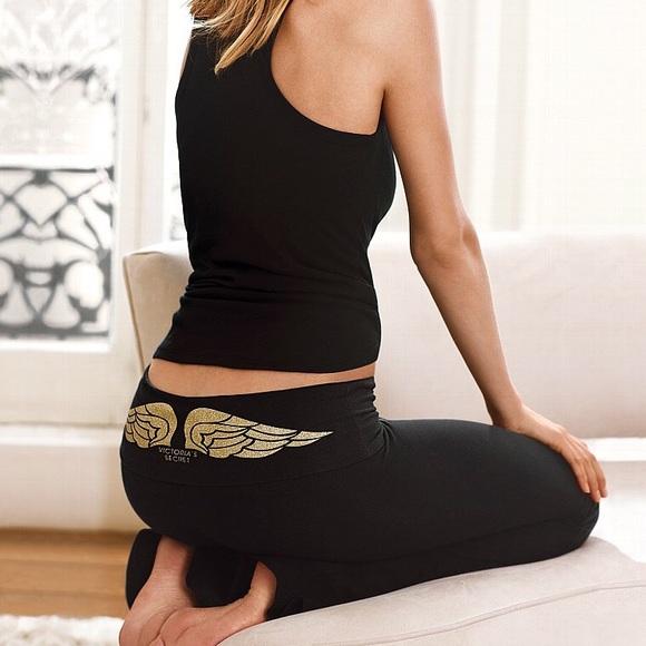 31f42a90ac0b53 Victoria's Secret Pants | Vs Foldover Gold Glitter Angel Yoga | Poshmark