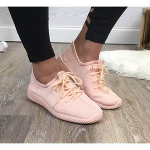Boutique Shoes - Blush Pink Fly Knit Sneakers Sz. 5.5 - 10