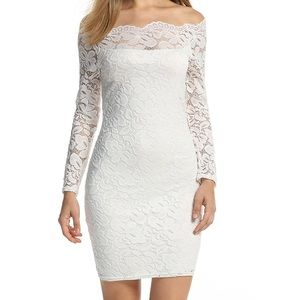 Acevog Dresses & Skirts - White Off-The-Shoulder Lace Dress (XXL)