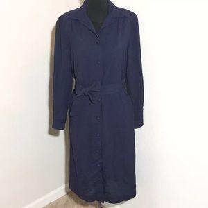 Orvis Dresses & Skirts - Vintage Orvis Navy Blue Button Front Long Dress 6