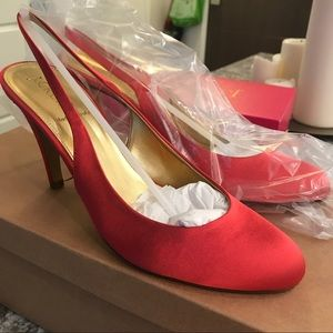 NIB Cate satin high-heel slingbacks