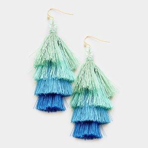 LAST PAIR! Aqua Layered Tassel Earrings