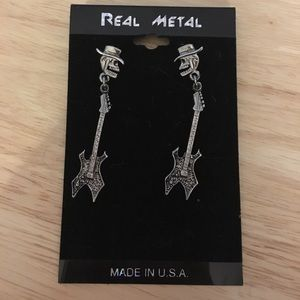 Skull and guitar earrings