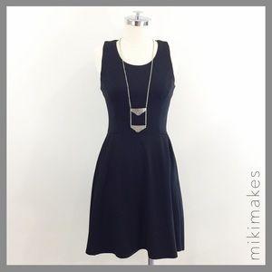 [ aqua ] black fit & flare dress sleeveless