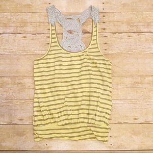 Yellow with brown stripes Free People tank top, S