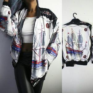 Vintage Jackets & Blazers - Vintage Abstract Bomber Jacket