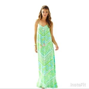 Lilly Pulitzer Philomena silk maxi in green sheen