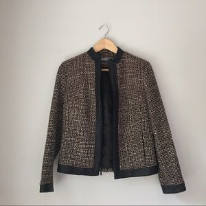 Kate Hill Jackets & Blazers - Kate Hill Faux Leather Trimmed Zip Tweed Jacket