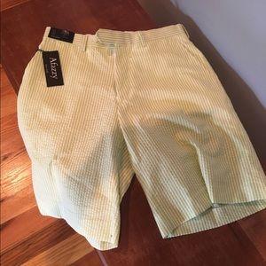 Afazzy Other - Green seersucker shorts