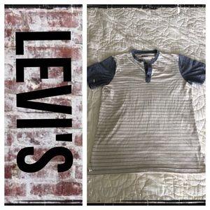 Levi's striped button collar super soft tee shirt