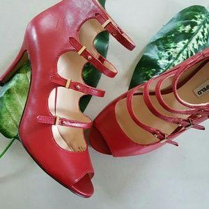 Karl Lagerfeld Shoes - Karl Lagerfeld Paris Red Leather Peep Toe Booties
