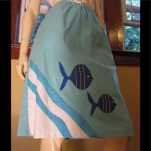 VTG Ocean Blue Nautical Fish Novelty Print  Skirt