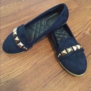 Ollio Shoes - Navy studded ballet flats