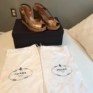 Prada Shoes - Gold Prada sandals with box and dust bags