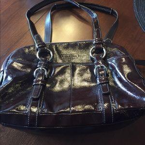 Deep brown purple coach purse