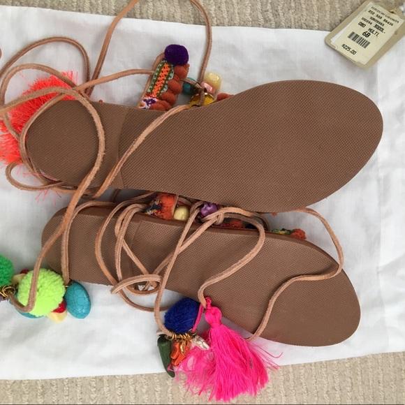 Elina Linardaki Shoes - Elina Linardaki Penny Lane Pompom Gladiator Sandal