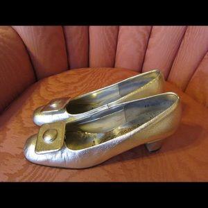 Vintage Shoes - VTG 60s MOD SPACE-AGE GLAM Silver Heels Shoes Sz 7