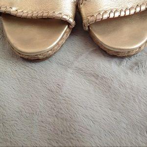 90958ee6dedd Jack Rogers Shoes - Jack Rogers Vanessa Rose Gold Raffia Wedge Sandal