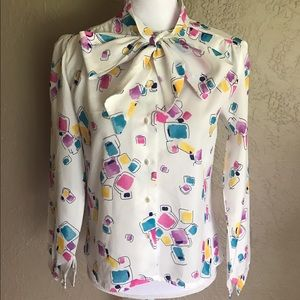 American Vintage Tops - Vintage 1980s Button Up Blouse pussy bow neck tie
