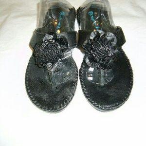 Ashley Blue Shoes - Black Flower Sandals/Slides