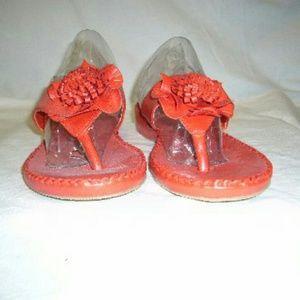 Ashley Blue Shoes - Red Flower Bow Sandals/Slides