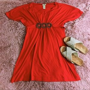 Ice Dresses & Skirts - Boho Red Beaded Summer Dress Beach Cover Up