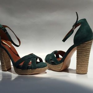 Shoes - Chunky Heel Suede Sandals 