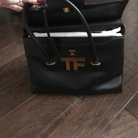 2f64b0f271 Tom ford tf icon logo medium black leather satchel.  M 5936d577f0137dff8e008c72