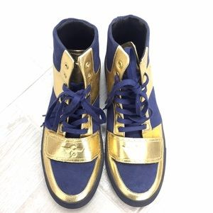Creative Recreation Other - Metallic gold and blue suede high top sneakers