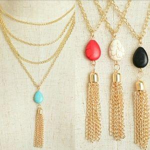 Boho Gold Layered Precious Stone Tassel Necklace